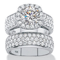 4.43 TCW Round Cubic Zirconia 2 Piece Halo Bridal Wedding Ring Set In  Platinum Over
