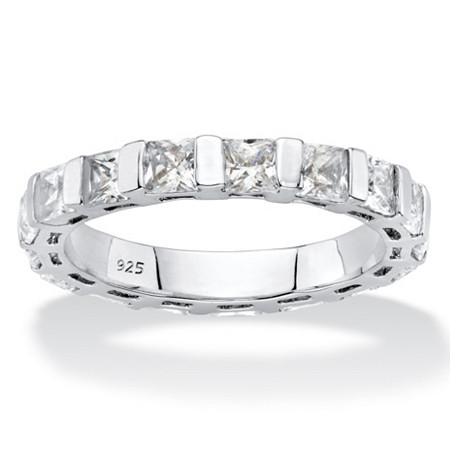 2.72 TCW Princess-Cut White Cubic Zirconia Bar-Set Eternity Ring Band in Platinum over Sterling Silver at PalmBeach Jewelry