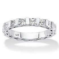 2.72 TCW Princess-Cut White Cubic Zirconia Bar-Set Eternity Ring Band in Platinum over Sterling Silver