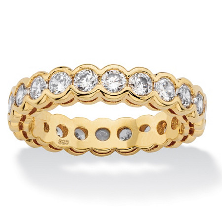 2.20 TCW Round White Cubic Zirconia Eternity Ring Band in 14k Yellow Gold over Sterling Silver at PalmBeach Jewelry