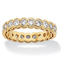 2.20 TCW Round White Cubic Zirconia Eternity Ring Band in 14k Yellow Gold over Sterling Silver