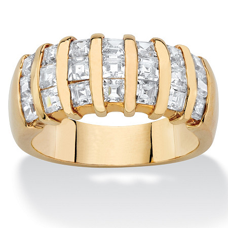 1.89 TCW Princess-Cut White Cubic Zirconia Bar-Set Ring Band 14k Yellow Gold-Plated at PalmBeach Jewelry