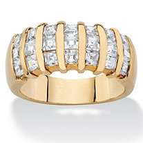 1.89 TCW Princess-Cut White Cubic Zirconia Bar-Set Ring Band 14k Yellow Gold-Plated
