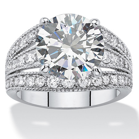 7.32 TCW Round White Cubic Zirconia Triple Split-Shank Milgrain Bridal Engagement Ring Platinum-Plated at PalmBeach Jewelry