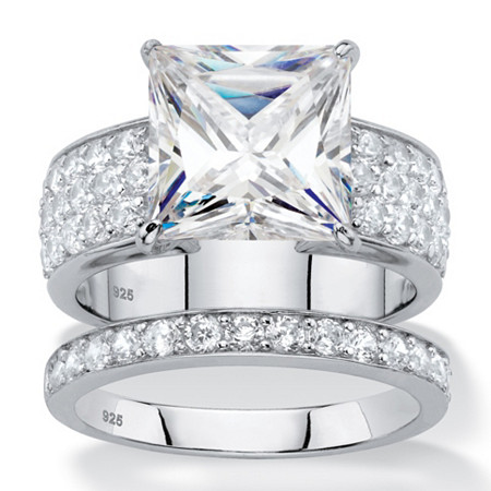 4.80 TCW Princess-Cut White Cubic Zirconia 2-Piece Bridal Wedding Ring Set in Platinum over Sterling Silver at PalmBeach Jewelry