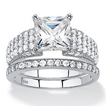 3.13 TCW Princess-Cut and Pave White Cubic Zirconia 2-Piece Bridal Wedding Ring Set in Platinum over Sterling Silver