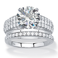 Round White CZ 2-Piece Bridal Wedding Ring Set In Platinum Over Sterling Silver ONLY $18.95