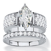 3.01 TCW Marquise-Cut White Cubic Zirconia 2-Piece Bridal Wedding Ring Set in Platinum over Sterling Silver
