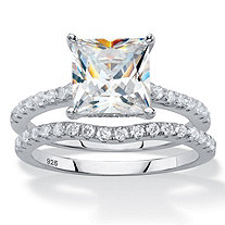 SETA JEWELRY 2.75 TCW Princess-Cut White Cubic Zirconia 2-Piece Bridal Wedding Ring Set in Platinum over Sterling Silver