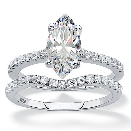 2.58 TCW Marquise-Cut White Cubic Zirconia 2-Piece Bridal Wedding Ring Set in Platinum over Sterling Silver at PalmBeach Jewelry