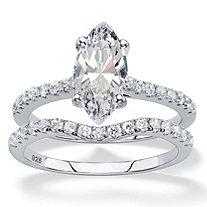 SETA JEWELRY 2.58 TCW Marquise-Cut White Cubic Zirconia 2-Piece Bridal Wedding Ring Set in Platinum over Sterling Silver