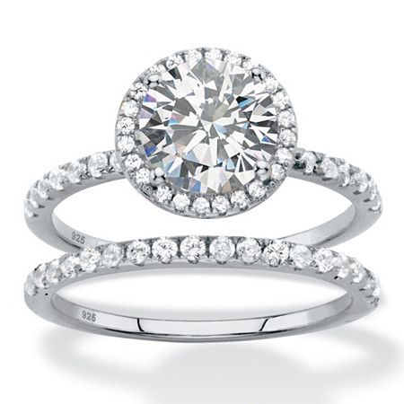 2.66 TCW Round White Cubic Zirconia 2-Piece Halo Bridal Wedding Ring Set in Platinum over Sterling Silver at PalmBeach Jewelry