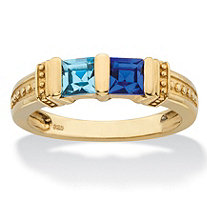 Princess-Cut Personalized Simulated Birthstone Bar-Set Beaded 2-Stone Ring in 14k Yellow Gold over Sterling Silver
