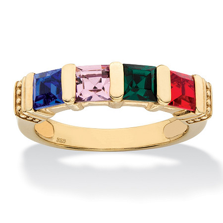Princess-Cut Simulated Birthstone Personalized Bar-Set Beaded 4-Stone Ring in 14k Yellow Gold over Sterling Silver at PalmBeach Jewelry