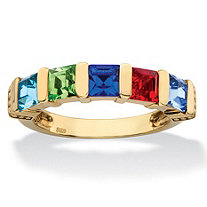 Princess-Cut Simulated Birthstone Personalized Bar-Set Beaded 5-Stone Ring in 14k Yellow Gold over Sterling Silver
