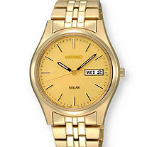 Men's Seiko Solar Watch with Gold Dial and Bracelet Band in Gold Tone 8""