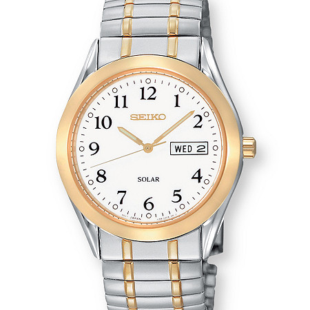 Men's Seiko Solar Watch with White Dial and Expandable Band in Two-Tone Silvertone and Gold Tone 8