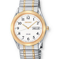 Men's Seiko Solar Watch with White Dial and Expandable Band in Two-Tone Silvertone and Gold Tone 8""