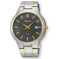 Men's Seiko Solar Watch with Gray Dial in Two-Tone Gold Tone and Silvertone 9""