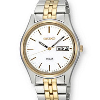 Men's Seiko Solar Two-Tone Watch with White Dial in Gold Tone and Silvertone 9