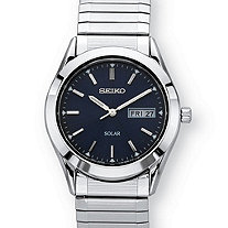 Men's Seiko Solar Expandable Dress Watch with Black Dial and Textured Links in Silvertone over Stainless Steel 8.5""