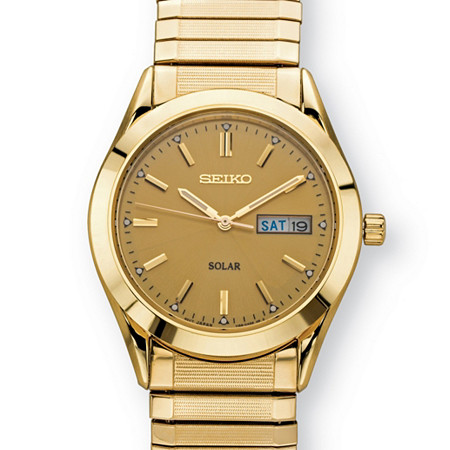 Men's Seiko Solar Expandable Dress Watch with Gold Dial and Textured Links in Gold Tone over Stainless Steel 8.5