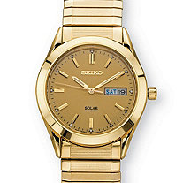 Men's Seiko Solar Expandable Dress Watch with Gold Dial and Textured Links in Gold Tone over Stainless Steel 8.5""