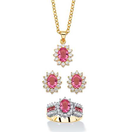 2.53 TCW Tourmaline Pink Crystal and Cubic Zirconia 3-Piece SWAROVSKI ELEMENTS Halo Necklace, Earrings and Ring Set 18