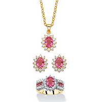 Pink Crystal And Cubic Zirconia 3-Piece SWAROVSKI ELEMENTS Halo Necklace, Earrings And Ring Set ONLY $39.99