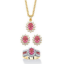 "2.53 TCW Tourmaline Pink Crystal and Cubic Zirconia 3-Piece SWAROVSKI ELEMENTS Halo Necklace, Earrings and Ring Set 18""-20"" 14k Gold-Plated"