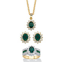 "2.53 TCW Emerald Green Crystal and Cubic Zirconia 3-Piece SWAROVSKI ELEMENTS Halo Necklace, Earrings and Ring Set 18""-20"" 14k Gold-Plated"
