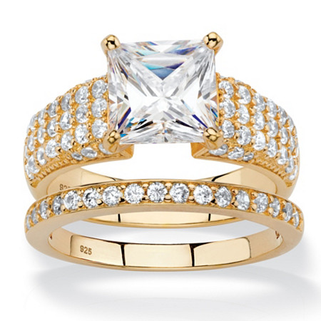 3.13 TCW Princess-Cut and Pave White Cubic Zirconia 2-Piece Bridal Wedding Ring Set in 14k Yellow Gold over Sterling Silver at PalmBeach Jewelry