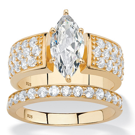 3.01 TCW Marquise-Cut and Pave White Cubic Zirconia 2-Piece Bridal Wedding Ring Set in 14k Yellow Gold over Sterling Silver at PalmBeach Jewelry