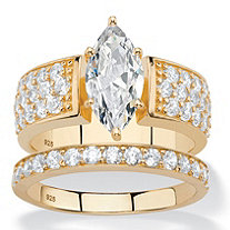3.01 TCW Marquise-Cut and Pave White Cubic Zirconia 2-Piece Bridal Wedding Ring Set in 14k Yellow Gold over Sterling Silver