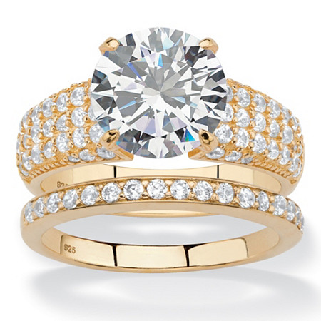 5.55 TCW Round and Pave White Cubic Zirconia 2-Piece Bridal Wedding Ring Set in 14k Yellow Gold over Sterling Silver at PalmBeach Jewelry
