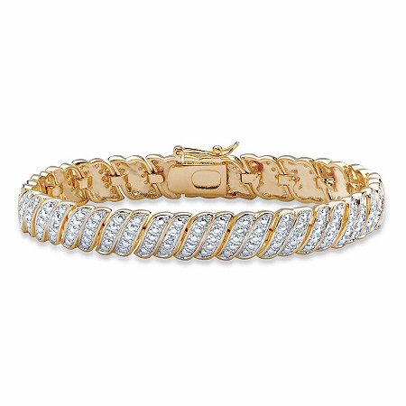 "White Diamond Accent Two-Tone Pave-Style S-Link Tennis Bracelet 14k Yellow Gold-Plated 7"" at PalmBeach Jewelry"