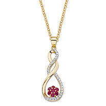 ".35 TCW Genuine Red Ruby and Diamond Accent Infinity Flower Pendant Necklace in 14k Yellow Gold over Sterling Silver 18""-20"""