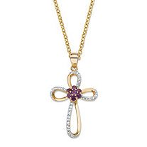 ".29 TCW Genuine Purple Amethyst and Diamond Accent Looped Cross Pendant Necklace in 14k Yellow Gold over Sterling Silver 18""-20"""