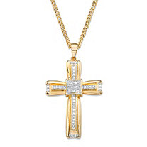White Diamond Accent Two-Tone Layered Cross Pendant and Curb-Link Necklace 14k Yellow Gold-Plated 22""