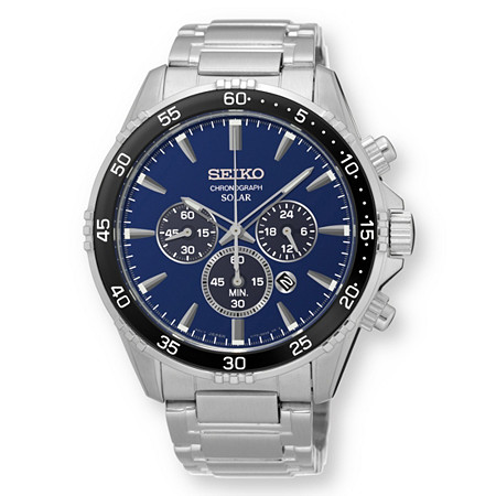 "Men's Seiko Multi-Function Solar Chronograph Watch with Navy Blue Dial in Stainless Steel 9"" at PalmBeach Jewelry"