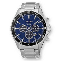 SETA JEWELRY Men's Seiko Multi-Function Solar Chronograph Watch with Navy Blue Dial in Stainless Steel 9