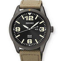 Men's Seiko Solar Sport Watch with Black Dial and Khaki Beige Textured Band in Black Stainless Steel Adjustable 8""