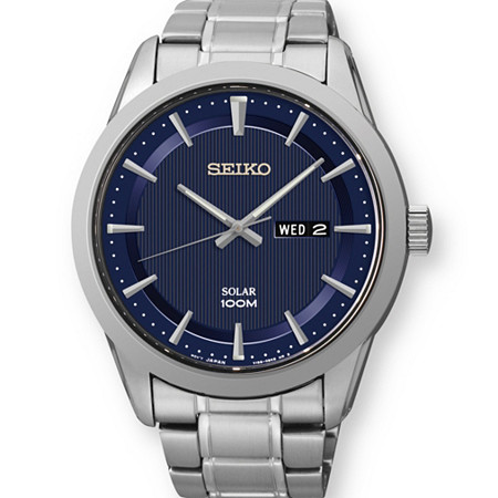 "Men's Seiko Solar Classic Watch with Navy Brushed Pinstripe Dial in Stainless Steel 9"" at PalmBeach Jewelry"