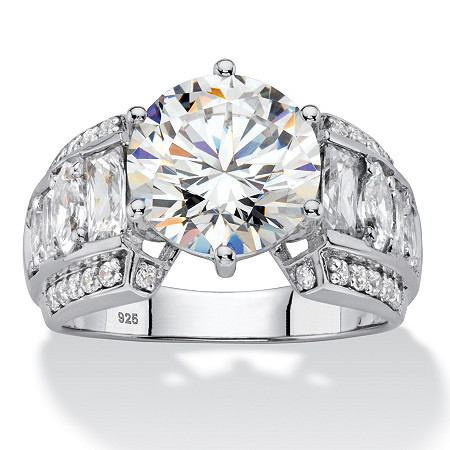 5.50 TCW Round White Cubic Zirconia Bridal Engagement Ring with Marquise and Baguette Accents  in Platinum over Sterling Silver at PalmBeach Jewelry