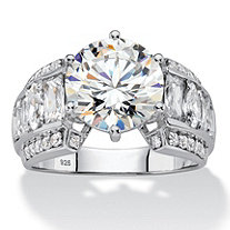 5.50 TCW Round White Cubic Zirconia Bridal Engagement Ring with Marquise and Baguette Accents in Platinum over Sterling Silver