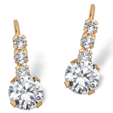 1.20 TCW Round White Cubic Zirconia Drop Earrings with Lever Backs in Solid 10k Yellow Gold at PalmBeach Jewelry
