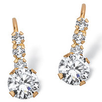 1.20 TCW Round White Cubic Zirconia Drop Earrings with Lever Backs in Solid 10k Yellow Gold