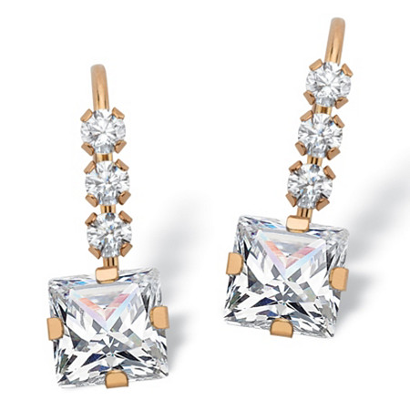 1.60 TCW Princess-Cut White Cubic Zirconia Drop Earrings with Lever Backs in Solid 10k Yellow Gold at PalmBeach Jewelry