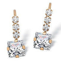 1.60 TCW Princess-Cut White Cubic Zirconia Drop Earrings with Lever Backs in Solid 10k Yellow Gold