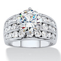 6.12 TCW Round White Cubic Zirconia Channel-Set Cocktail Ring Platinum-Plated